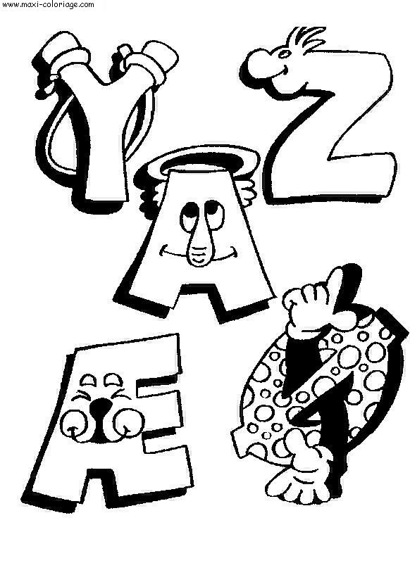 coloriage Alphabet Rigolos