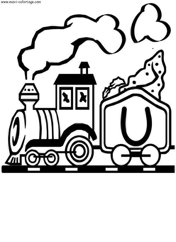 coloriage Alphabet Trains