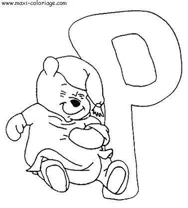 carte invitation Alphabet Winnie L Ourson
