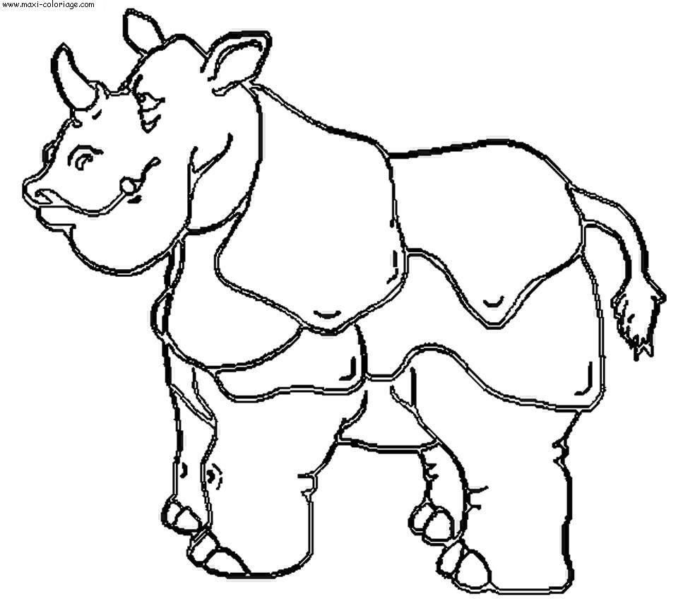Coloriage rhinoceros dessin rhinoceros rhinoceros - Maxi coloriage ...