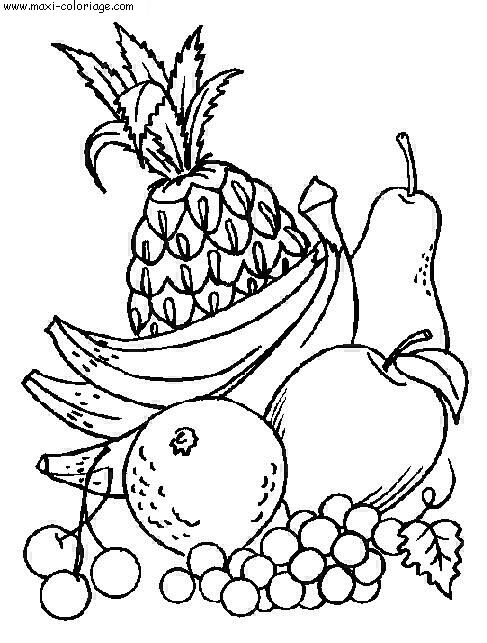 Panier fruits coloriage - Maxi coloriage ...